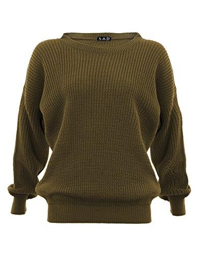 Ovillo de mujer con pantalones de jersey de con diseño de estampado de jersey Divaa caqui