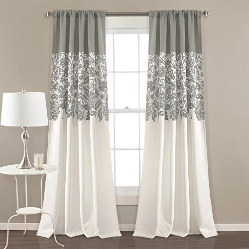 Lush Decor Estate Garden Print Curtains Room Darkening Window Panel Set for Living, Dining, Bedroom (Pair), 84