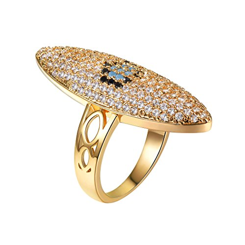 Suplight Large Evil Eye Ring with Turquoise&Cubic Zirconia,Dainty Boho Ring, Gold Plated Evil Eye Ring Jewelry for Women