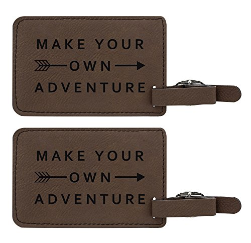 Make Your Own Adventure Luggage Tag Travel Gifts for Men Study Abroad Gifts for Travel 2-pack Laser Engraved Leather Luggage Tags Brown - Adventure Luggage