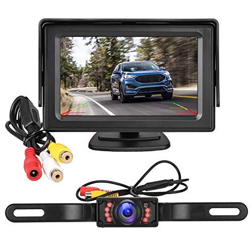 EEEKit Wireless Backup Camera and Monitor Kit for Car/RV/Truck/Pickup/Van/Camper IP68 Waterproof Night Vision Rear View Camera Single Power Reversing/Driving with 4.3 Display Grid Lines