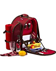 apollo walker APOLLOWALKER 4 Person Picnic Backpack Hamper Cooler Bag with Tableware Set & Blanket