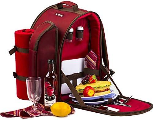 Apollowalker, roter Picknickrucksack für 2 Personen, Korb mit Kühltasche, inkl. Geschirr und Fleece-Decke