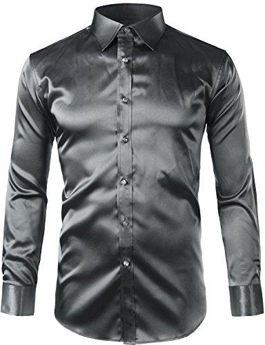 ZEROYAA Mens Regular Fit Long Sleeve Shiny Satin Silk Like Dance Prom Dress Shirt Tops Z6 Dark Gray XXX Large