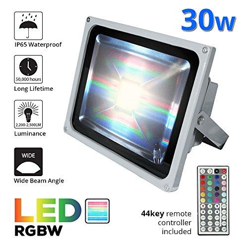 ETOPLIGHTING RGB LED Flood Changing Light, Outdoor Waterproof Remote Control Flood W/Cord and Plug APL1193, 30 Watt