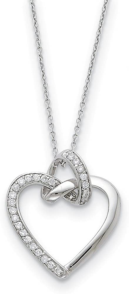 Solid 925 Sterling Silver CZ Cubic Zirconia Heart Pendant Necklace Charm Chain