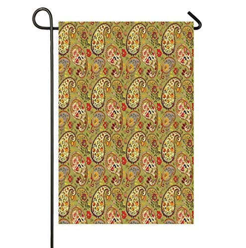 - WATINCFlagHomegg Paisley Decor Eastern and Persian Oriental Style Tulip Floral Textile Pattern Green Red Cream and Paprika Home Garden Decorative Happy St Patrick's Day Garden Flag