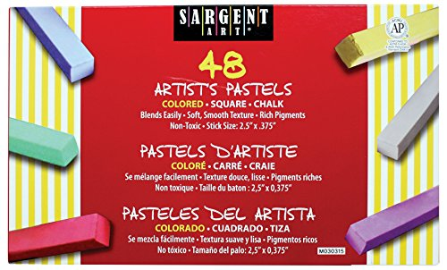 Sargent Art 22-4148 Colored Square Chalk Pastels, 48 Count Square Chalk Pastels