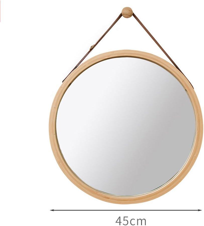 DW/&HX Bathroom Mirror Round Mirror,Bamboo Wood Frame Wall Mounted Bathroom Makeup Mirror Decorative Hanging Mirror Wall Mirror-A