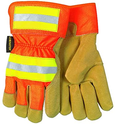 MCR Safety 19251L Luminator Grain Pigskin Leather Fleece Lined Palm Gloves with 2-1/2-Inch Safety Cuff, Gold/Orange, Large