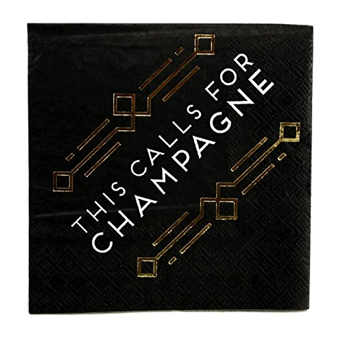New Year Beverage Napkins (C.R. Gibson New Years Eve Party 5 x 5 inch Beverage Napkins, 2 Packs 40 Count (Calls For Champagne))