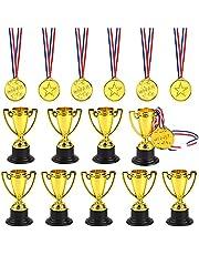 FEPITO Trofee medailles set van 10 stuks goudkleurige kunststof trophy cup en 20 stuks winnaar medaillles voor Kid Party Sports Awards