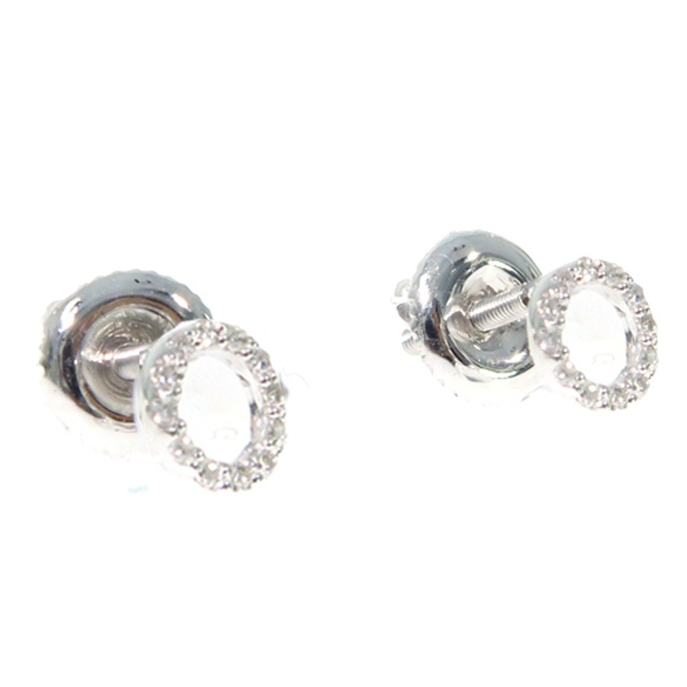 14K White Gold Genuine Real Round Cut Diamond Initial Letter Stud Earrings With Secure Screw Backs (O)