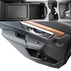 Custom Fit Cup Holder and Door Liner Accessories 2017 2018 Honda CR-V 19-pc Set (Solid Black)