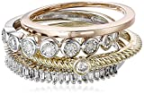 White Diamond Three Tone Stackable Ring (1/3cttw, I-J Color, I2-I3 Clarity), Size 7
