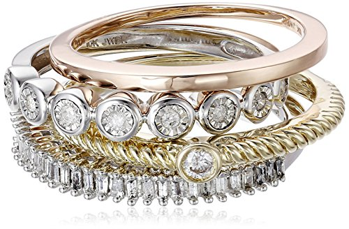 Gold Diamond Stack Ring (Three Tone Gold Diamond Stack Ring (1/3 cttw), Size 6)