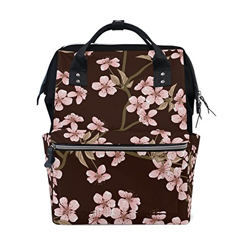 ALIREA Cherry Blossom Flowers Pattern Diaper Bag Backpack, L