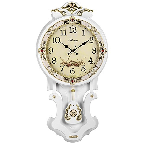 Wall Quartz Clock Mute (HENSE Antique Retro Decorative 16-Inch Wood Hand-Painted Wall Clock Mute Quartz Movement Sweep Second Hand Wall Clocks w/Swinging Pendulum HP07 (White))