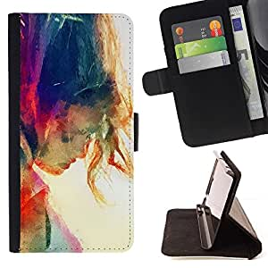 Momo Phone Case / Flip Funda de Cuero Case Cover - Sun Summer Girl Rainbow - Samsung Galaxy S6