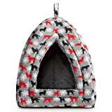 Hollypet Self-Warming 2 in 1 Foldable Comfortable Triangle Cat Bed Tent House, Gray Dog