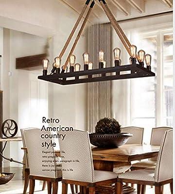 RUXUE Vintage Rectangle Rustic Chandelier Lighting Industrial Hemp Rope Pendant Ceiling Light Fixtures
