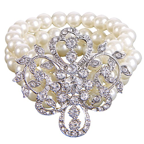 EleQueen Women's Silver-Tone Simulated Pearl Crystal Victorian Style Flower Ivory Color Bridal Strand Stretch Bracelet ()