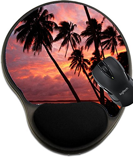 MSD Natural Rubber Mousepad Wrist Protected Mouse Pads/Mat with Wrist Support Design: 29842677 Silhouetted Palm Trees on a Beach Sunset Ofu Island Vavau Group Tonga