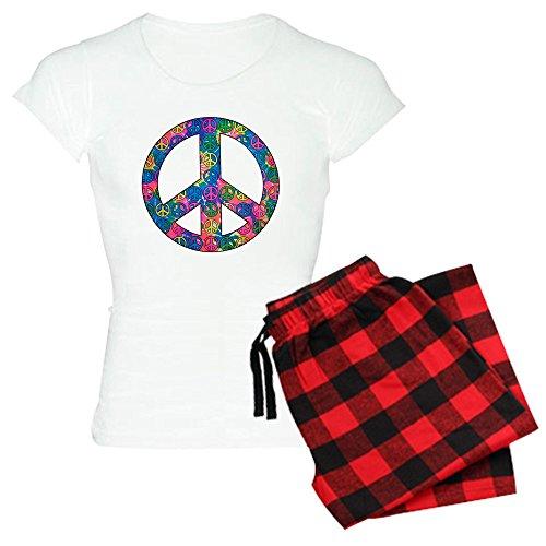 (Royal Lion Women's Light Pajamas Peace Symbols Inside Tye Dye Symbol - Red Plaid, Medium)