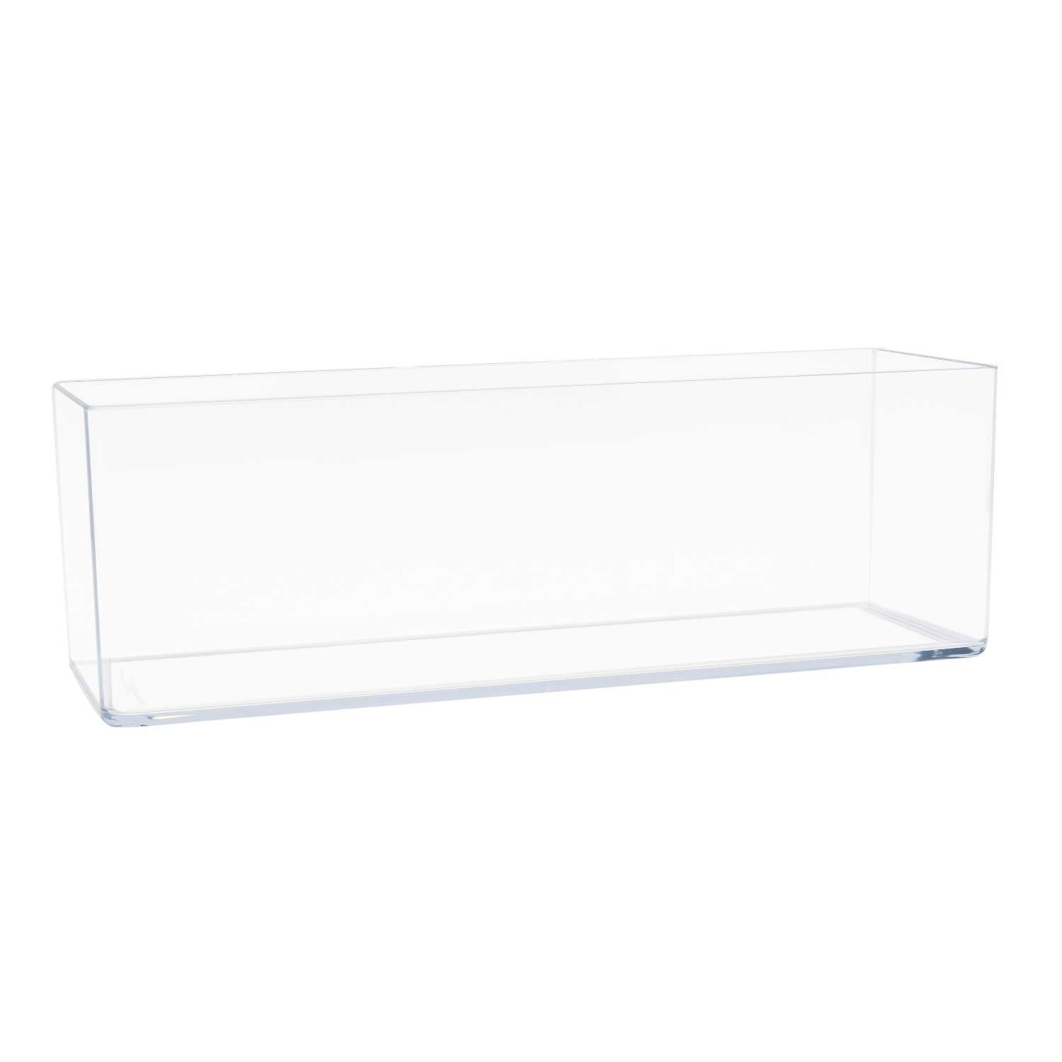 "Royal Imports Flower Vase Acrylic Rectangle- Decorative Centerpiece for Home or Wedding - Non Breakable Plastic, 4"" X12 Low Square - Clear"