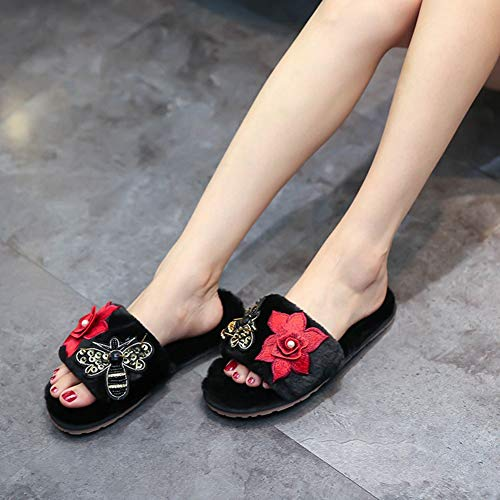 Warm and Flops Hand Black Embroidery Fur Slippers Slides Plush Butterfly Sandals Women's Flower Winter Fluffy Flip 6PtAqq