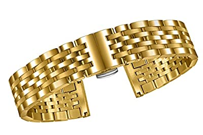 High-End Gold Watch Bracelet Replacement Solid Inox Steel with Removable Links and Folding Buckle