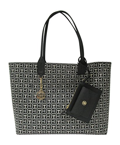 Tommy Hilfiger Reversible Tote with Removable Wristlet Pouch Beach Tote (Black / White Monogram)