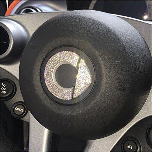 DeAutoBug Steering Wheel Badge Emblem Overlay Decal Decoration Cover Sticker Trim for Mercedes Benz MB Smart Fortwo Forfour (White) ()