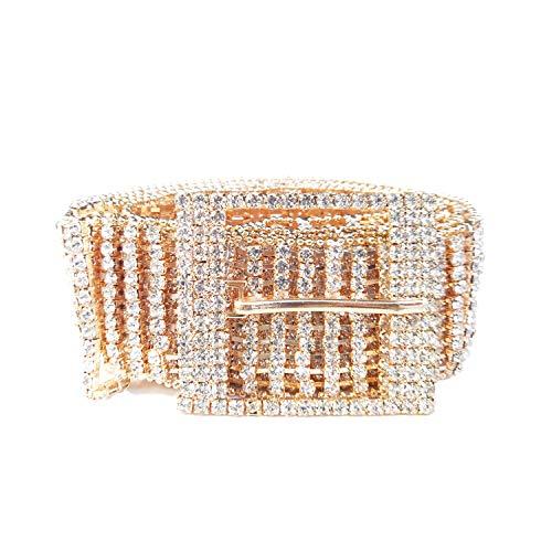 Women's Crystal Rhinestone Chain Waist Buckle Belt Luxury Sparkling Sash Waistband Accessory,Gold