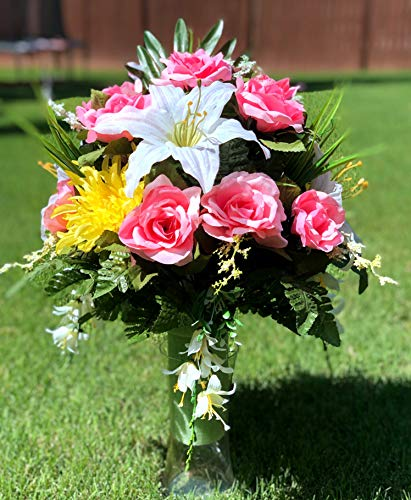 Starbouquets Cemetery Vase Arrangement ~ Beautiful Yellow Mum,Pink Open Rose, Gladiolus and Lily Flowers Mixture Cemetery Vase Flowers ~ for a 3 Inch Vase ()