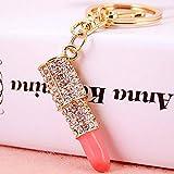 Bolbove Lipstick Makeup Keychain Sparkling Keyring Crystal Rhinestones Purse Pendant Handbag Charm (Pink)
