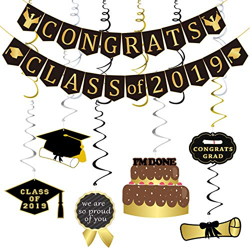 Congrats Class of 2019 Banner and Hanging Swirls Kit - Assembled, Graduation Hanging Decorations | Graduation Party Supplies 2019 | Graduation Decorations for College Grad, High School Prom Party Decor, Large