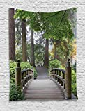 Ambesonne Apartment Decor Collection, Foggy Morning Wooden Bridge at Japanese Garden with Various Types of Trees in Autumn, Bedroom Living Room Dorm Wall Hanging Tapestry, Beige Green