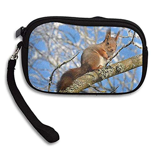 GoldBaoWang Wildlife Animal Squirrel On The Rustic Wood Branch Zipper Change Purse Coin Wallet Card Holder With Key Ring Wristlet Portable Pouch Bag