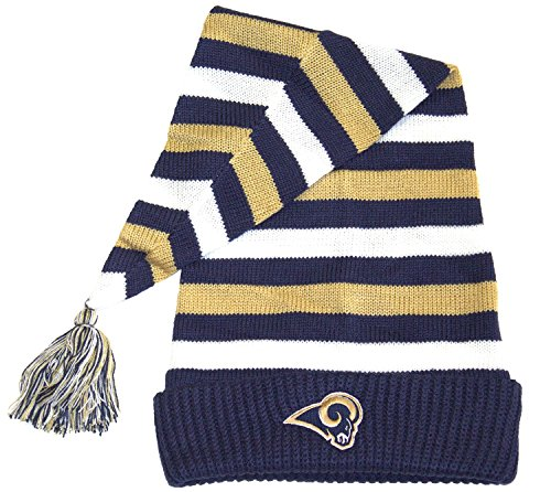 (Reebok NFL Officially Licensed Los Angeles Rams Striped Toboggan Knit Beanie Hat Cap)