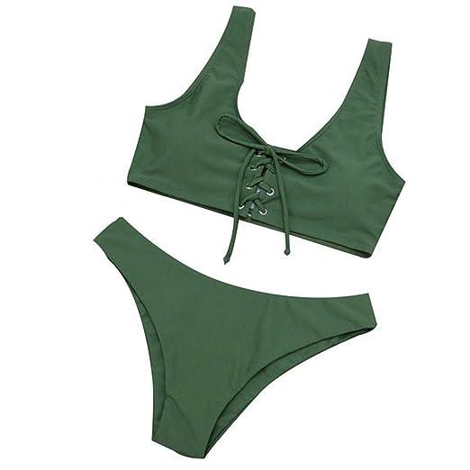 b194d508da Amazon.com: Bikini Sets Swimsuits for Women Solid Baddage Halter Swimwear  Beachwear Push Up: Clothing
