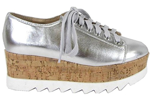 Shoe Cork Oxford Wedge Up cork Silver Women's Sole Lace Platform Soda Oxawng8qTT
