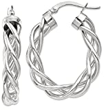 ICE CARATS 14k White Gold Twisted Hoop Earrings Ear Hoops Set Fine Jewelry Gift Set For Women Heart