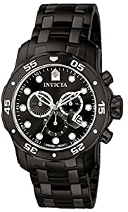 Invicta Men's 0076 Pro Diver Collection Chronograph Black Ion-Plated Stainless Steel Watch