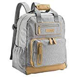 JJ Cole - Papago Pack Diaper Bag, Gender Neutral Large Capacity Backpack with Stroller Clips, Changing Pad, and Multiple Pockets for Baby Supplies, Heather Gray