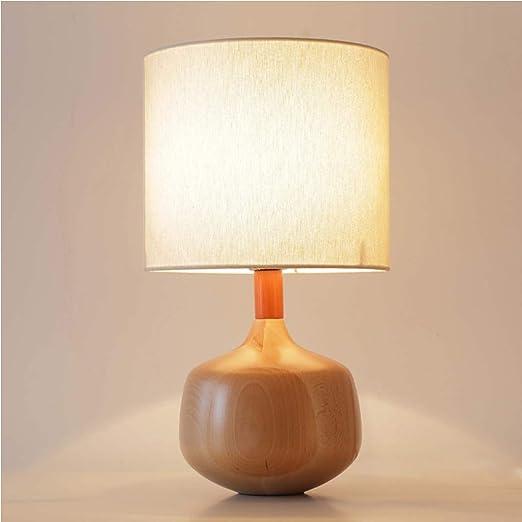 LISAHA LED lámpara de Mesa de Madera, botón de Control de Ahorro ...