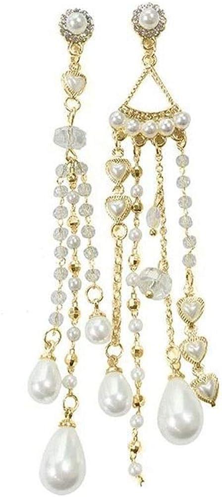 JIANG Arete Pendientes Largos con borlas de Perlas de Moda for Mujeres niñas