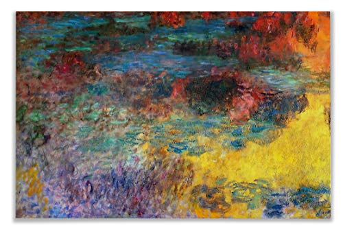 Monet Wall Art Collection Water Lily Pond, Evening (Left Panel), 1920 by Claude Monet Canvas Prints Wrapped Gallery Wall Art | Stretched and Framed Ready to Hang 36X48 - Collection Pond Lily
