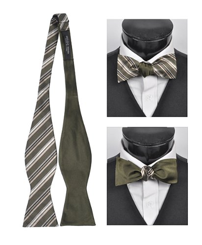 Olive Stripe 100% silk woven Freestyle and Reversible Bow Tie ()