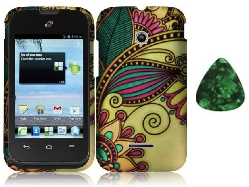 (For Huawei Prism 2 II U8686 / T-Mobile Prism 2 II Hard Phone Cover Case - Antique Flower + Free Green Stone Pry Tool)